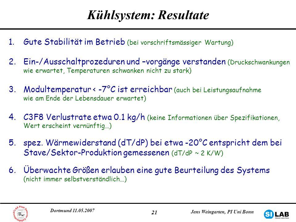 Kühlsystem: Resultate