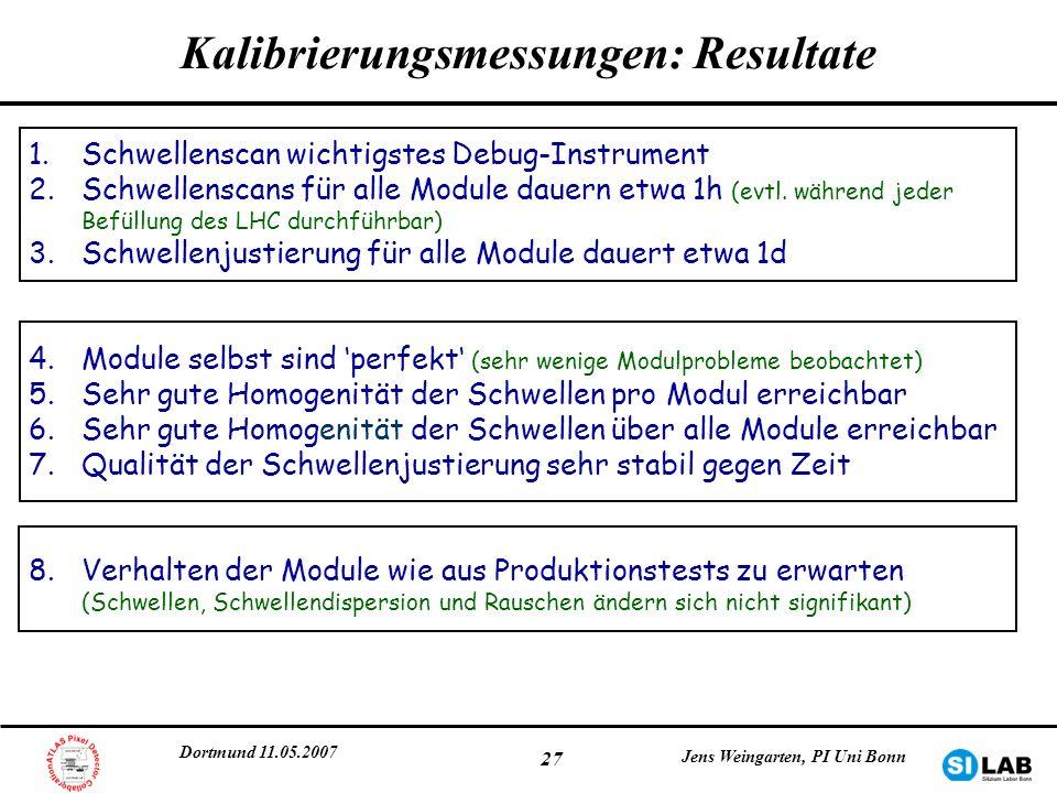 Kalibrierungsmessungen: Resultate