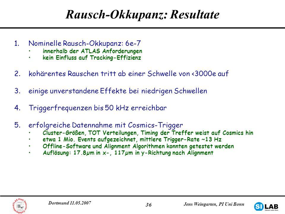 Rausch-Okkupanz: Resultate