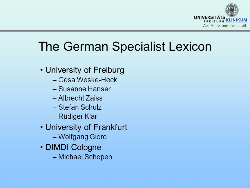 The German Specialist Lexicon