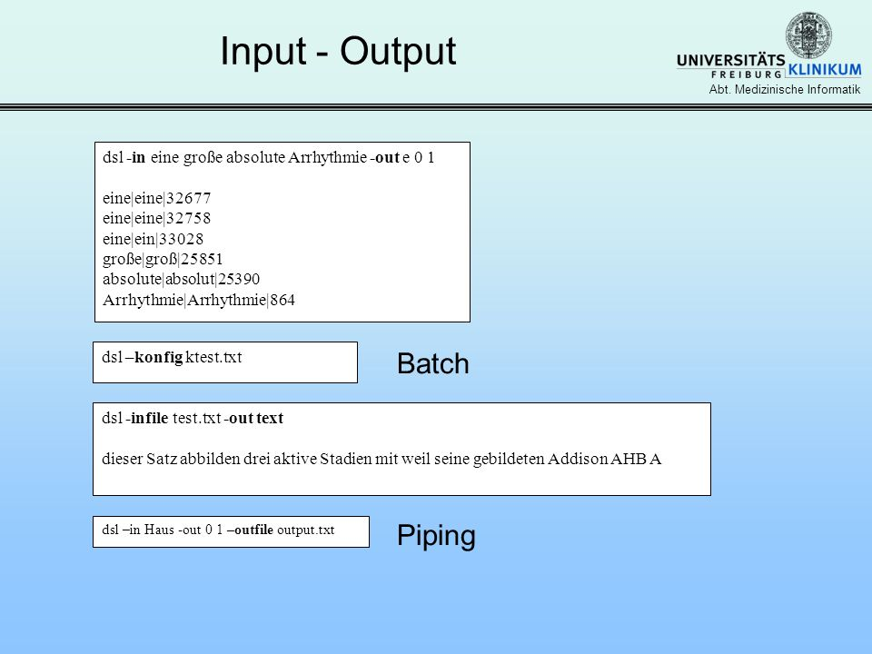 Input - Output Batch Piping
