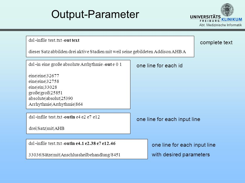 Output-Parameter complete text one line for each id