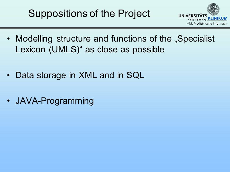 Suppositions of the Project