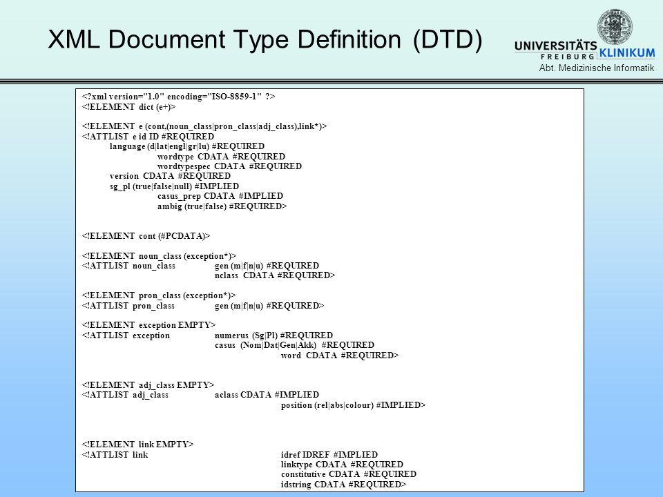 XML Document Type Definition (DTD)