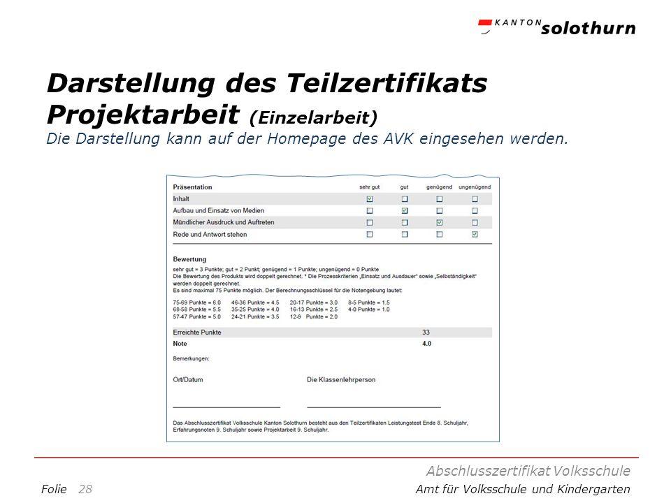 Darstellung des Teilzertifikats Projektarbeit (Einzelarbeit) Die Darstellung kann auf der Homepage des AVK eingesehen werden.