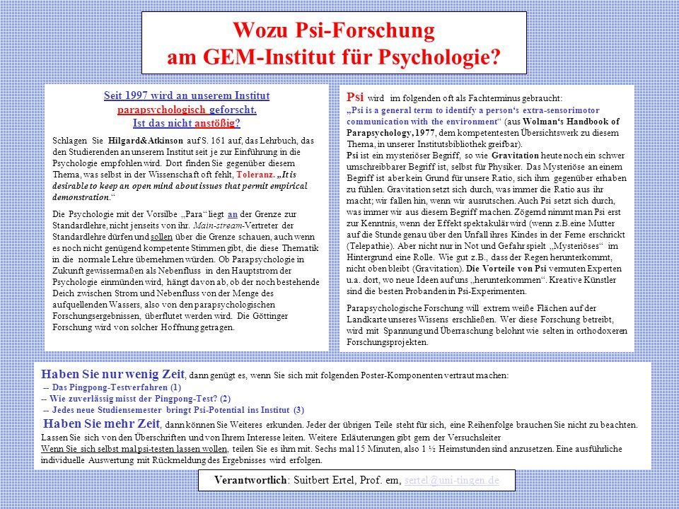 Wozu Psi-Forschung am GEM-Institut für Psychologie