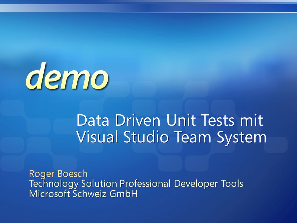 Data Driven Unit Tests mit Visual Studio Team System