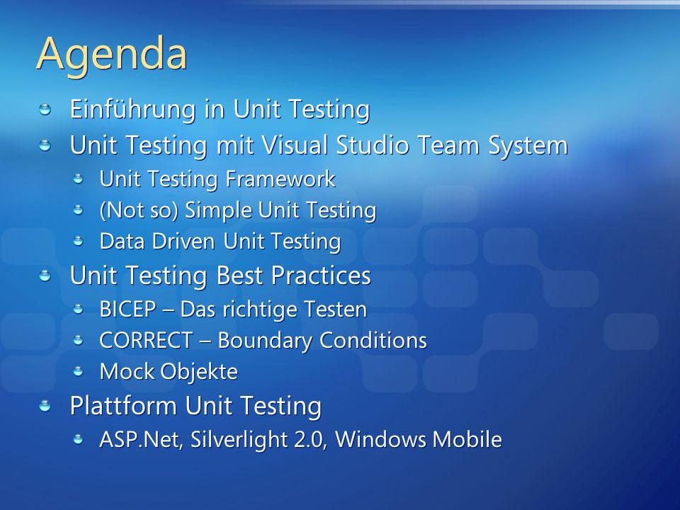 Agenda Einführung in Unit Testing