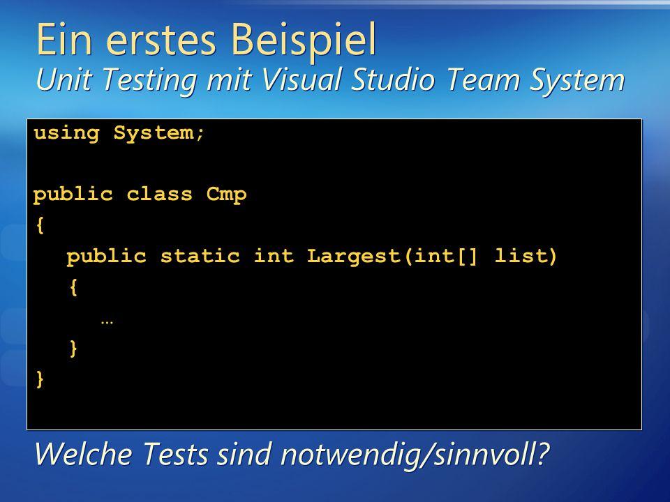 Ein erstes Beispiel Unit Testing mit Visual Studio Team System