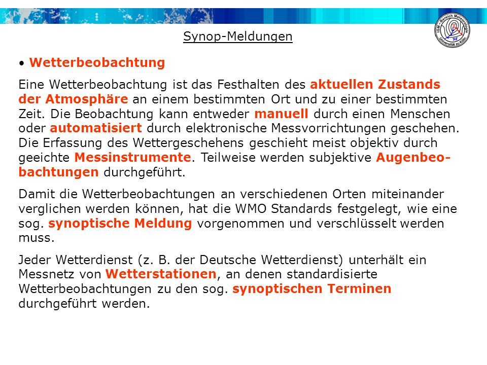 Synop-Meldungen Wetterbeobachtung.