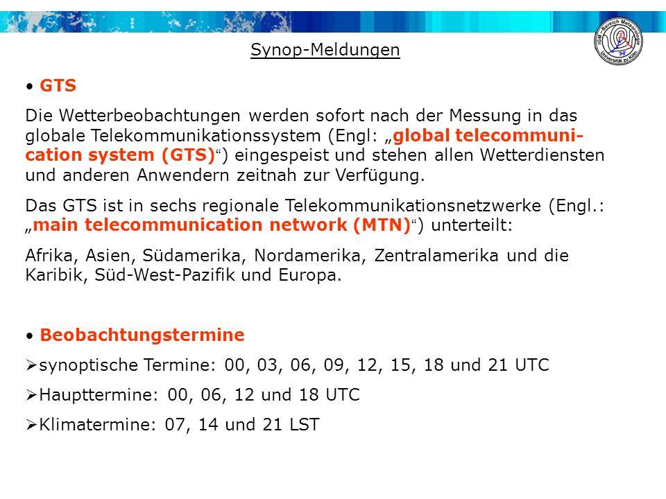 Synop-Meldungen GTS.