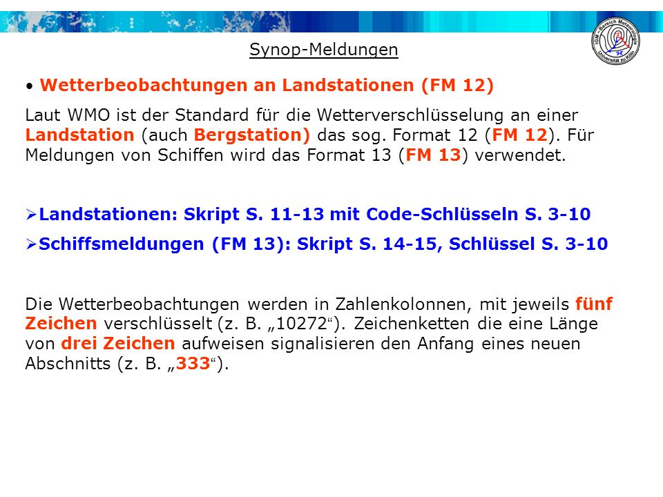 Synop-Meldungen Wetterbeobachtungen an Landstationen (FM 12)