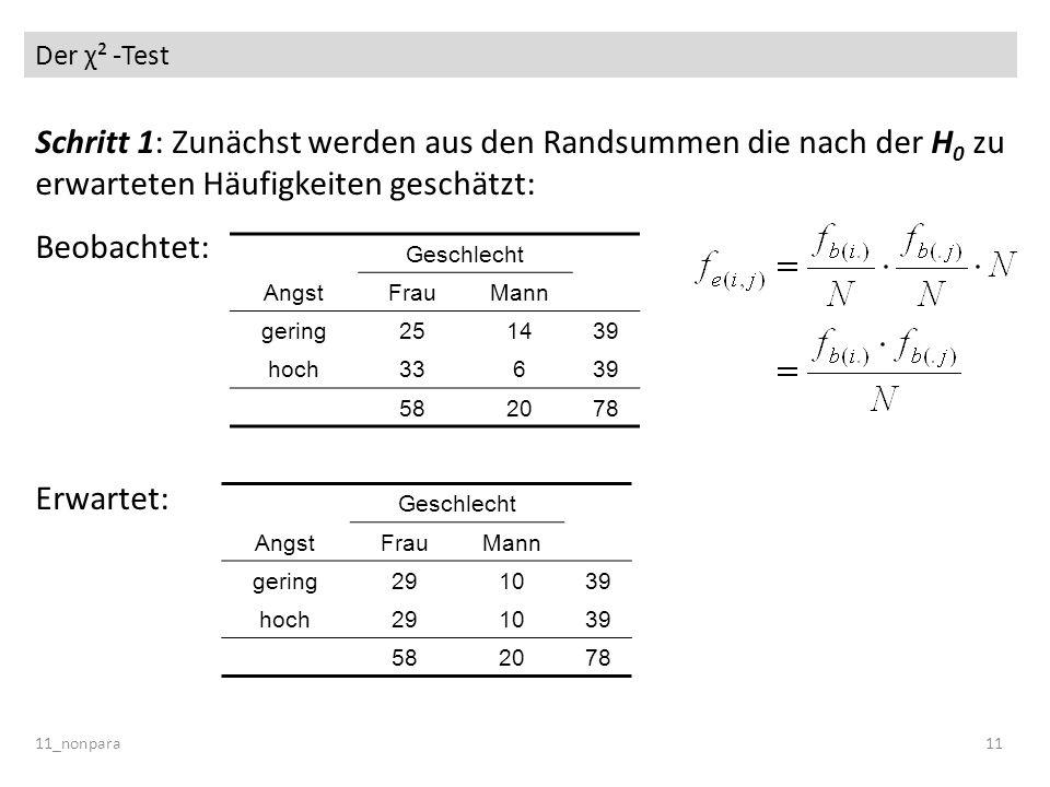 Der χ² -Test Schritt 1: Zunächst werden aus den Randsummen die nach der H0 zu erwarteten Häufigkeiten geschätzt: