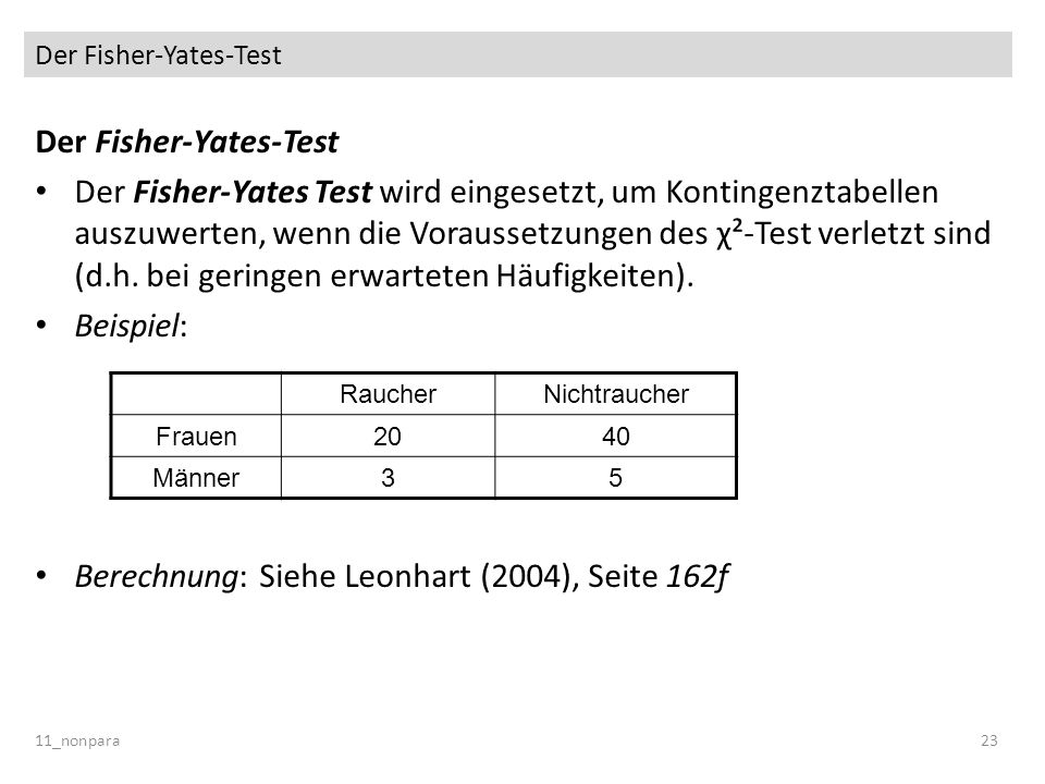 Der Fisher-Yates-Test