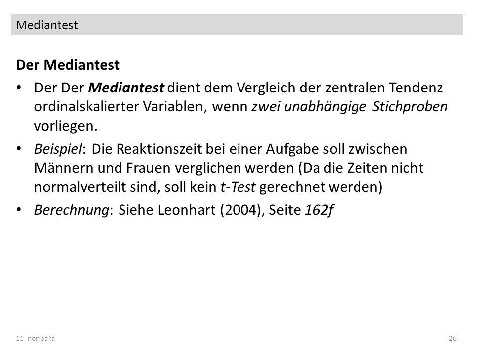 Berechnung: Siehe Leonhart (2004), Seite 162f