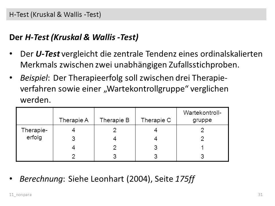 H-Test (Kruskal & Wallis -Test)