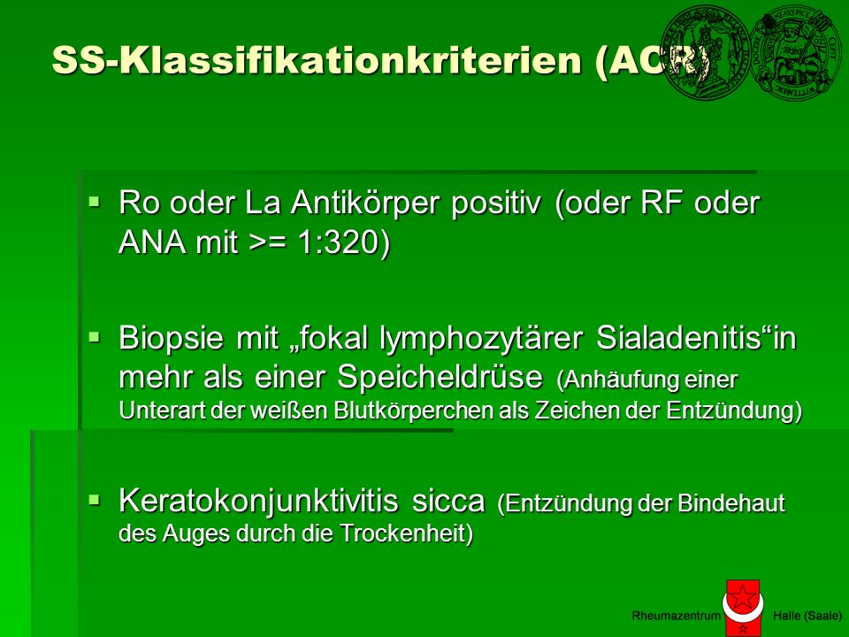 SS-Klassifikationkriterien (ACR)