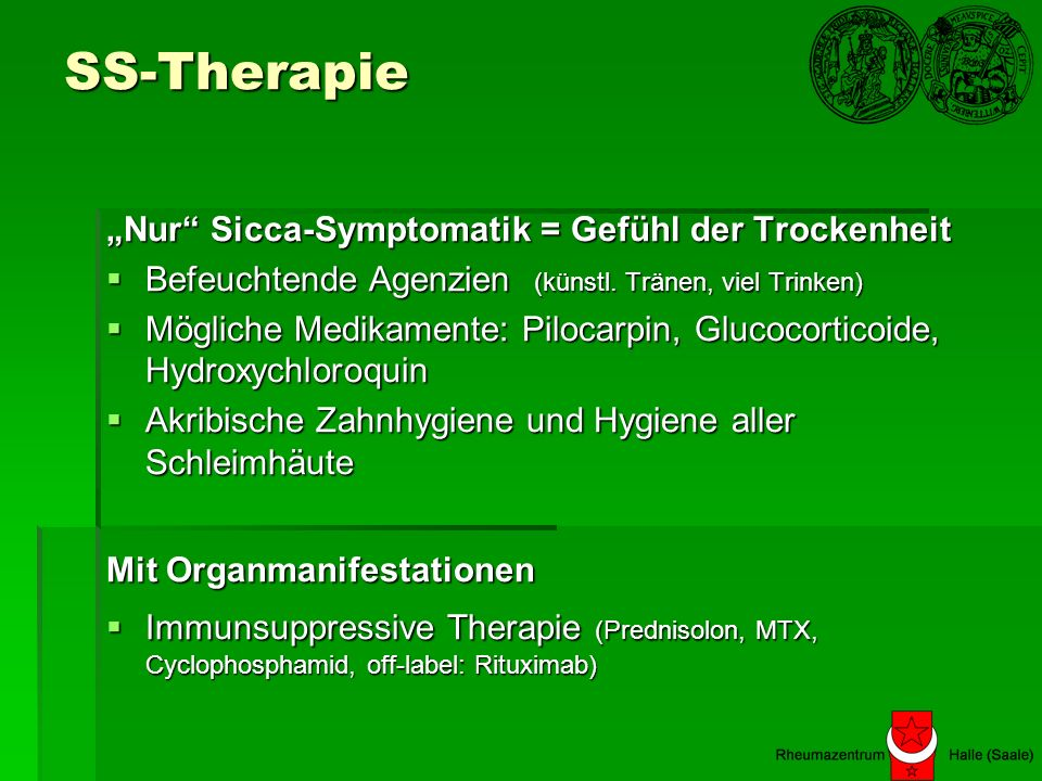"SS-Therapie ""Nur Sicca-Symptomatik = Gefühl der Trockenheit"