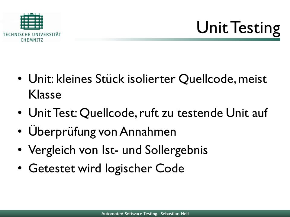Automated Software Testing - Sebastian Heil