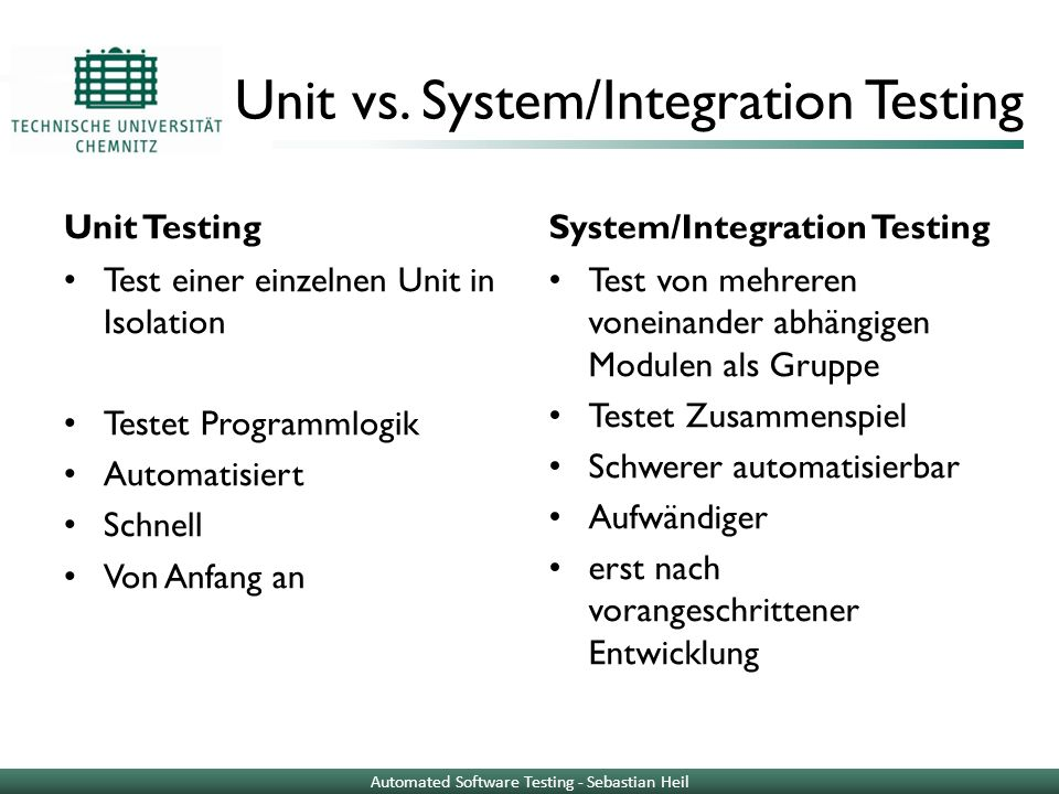 Unit vs. System/Integration Testing
