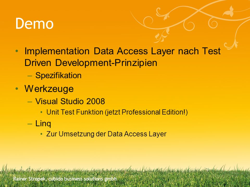 Demo Implementation Data Access Layer nach Test Driven Development-Prinzipien. Spezifikation. Werkzeuge.