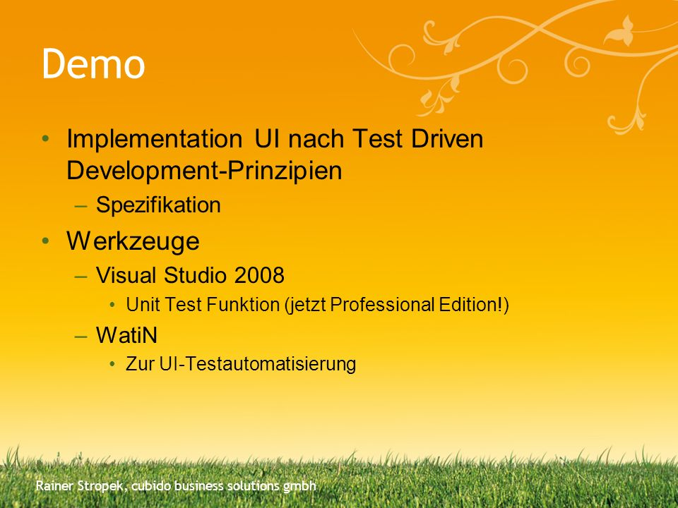 Demo Implementation UI nach Test Driven Development-Prinzipien