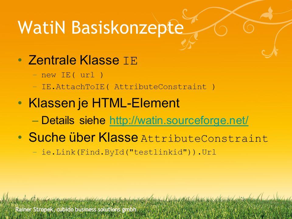 WatiN Basiskonzepte Zentrale Klasse IE Klassen je HTML-Element