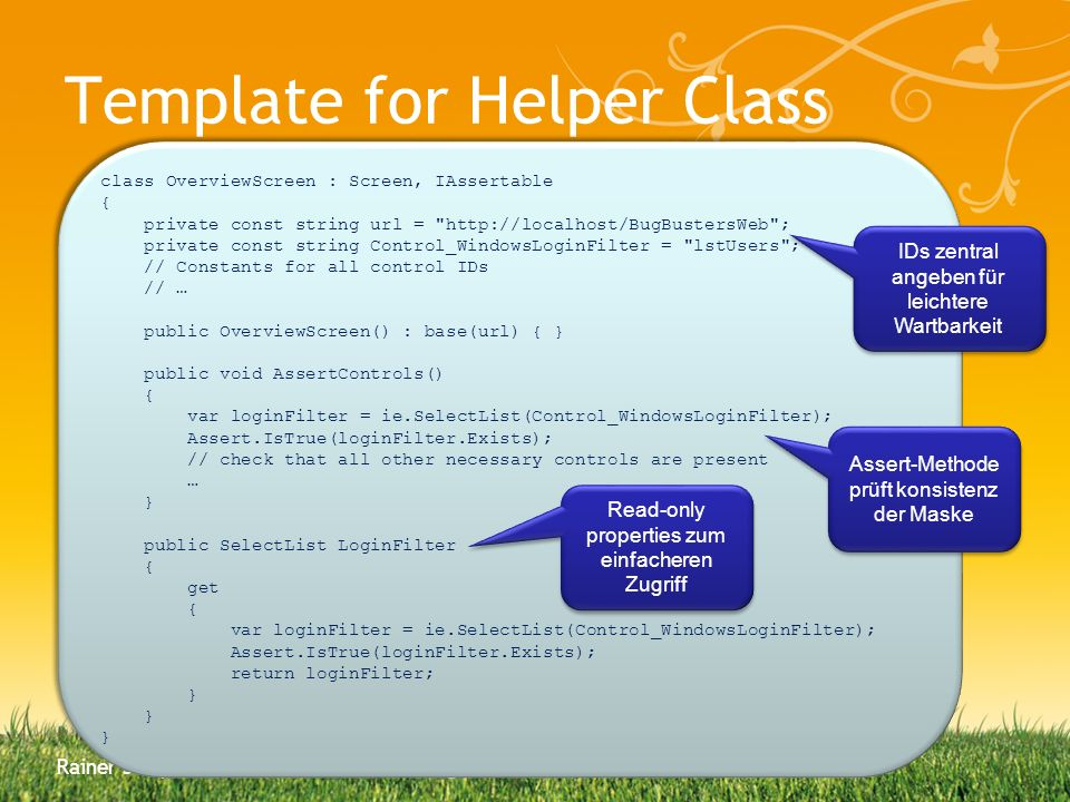 Template for Helper Class