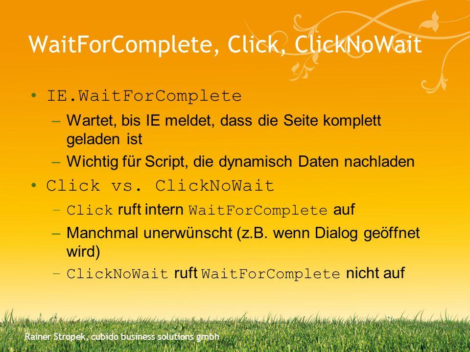 WaitForComplete, Click, ClickNoWait