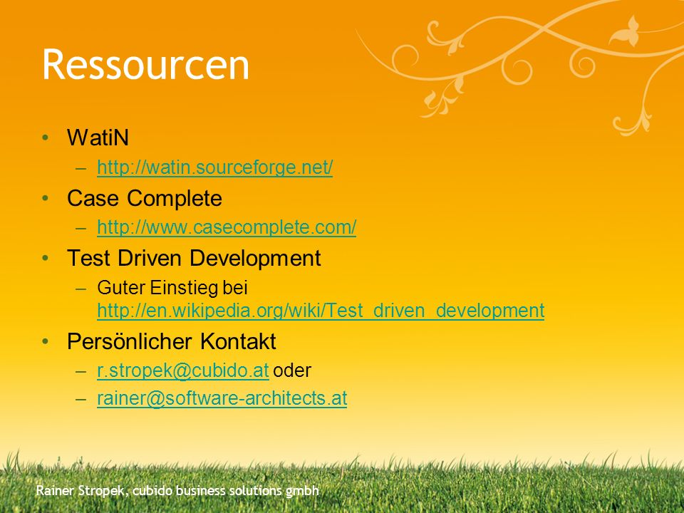 Ressourcen WatiN Case Complete Test Driven Development