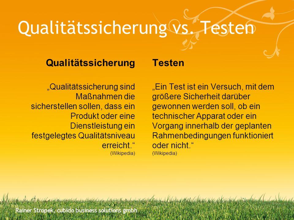 Qualitätssicherung vs. Testen