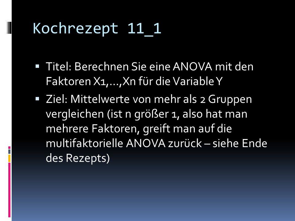Kochrezept 11_1 Titel: Berechnen Sie eine ANOVA mit den Faktoren X1,…,Xn für die Variable Y.