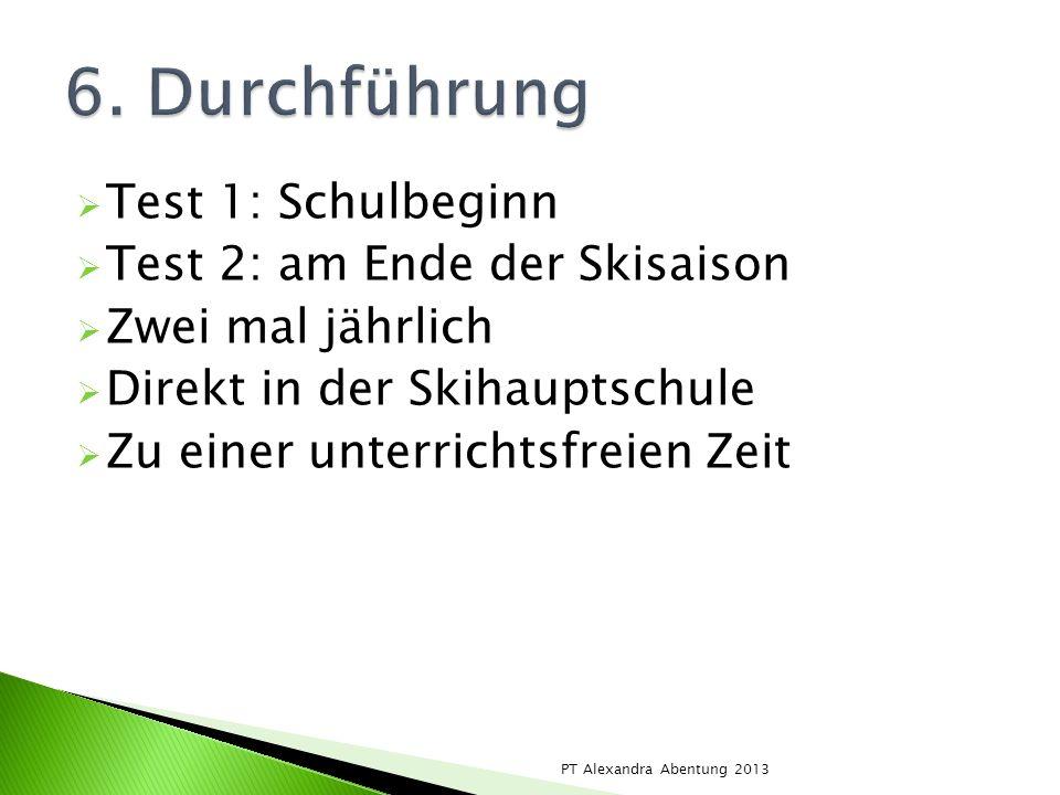 6. Durchführung Test 1: Schulbeginn Test 2: am Ende der Skisaison