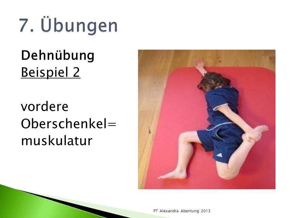 7. Übungen Dehnübung Beispiel 2 vordere Oberschenkel= muskulatur