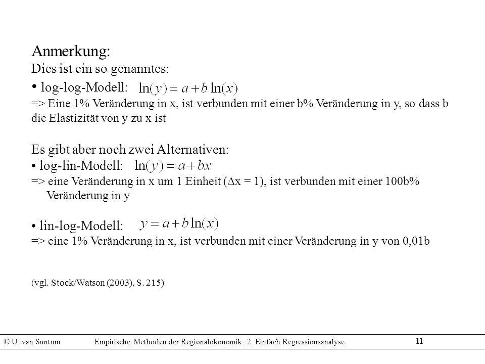 Anmerkung: log-log-Modell: Dies ist ein so genanntes: