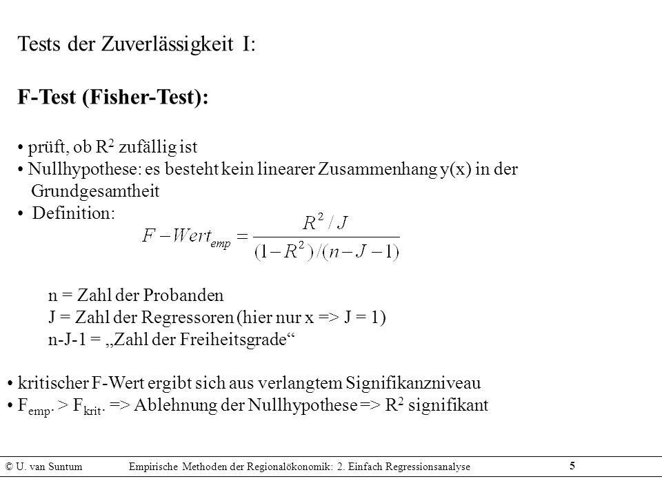 Tests der Zuverlässigkeit I: F-Test (Fisher-Test):
