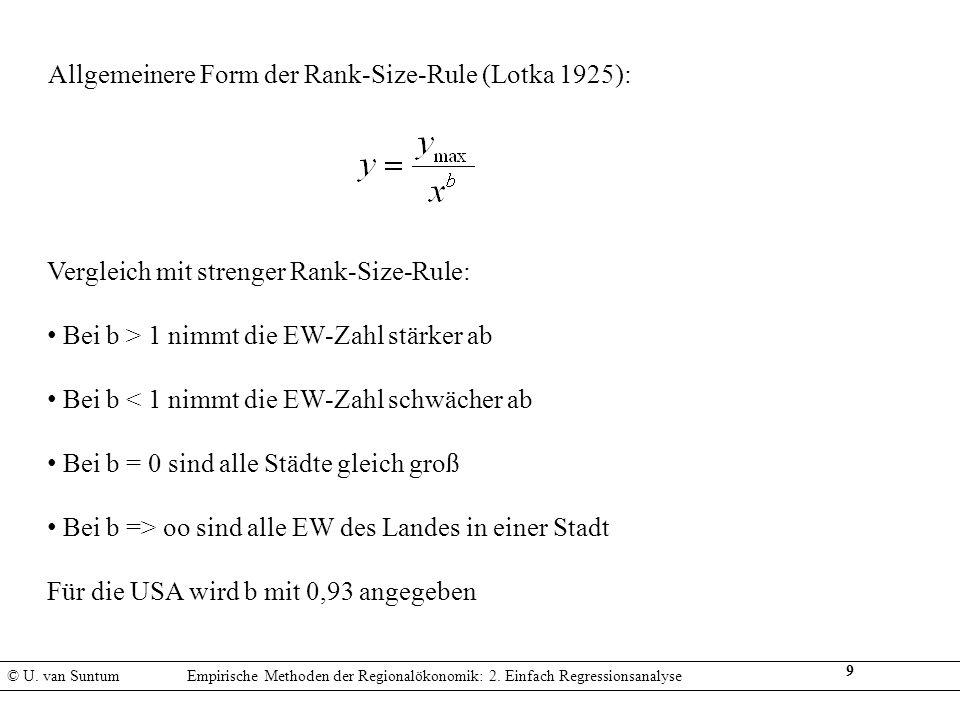 Allgemeinere Form der Rank-Size-Rule (Lotka 1925):