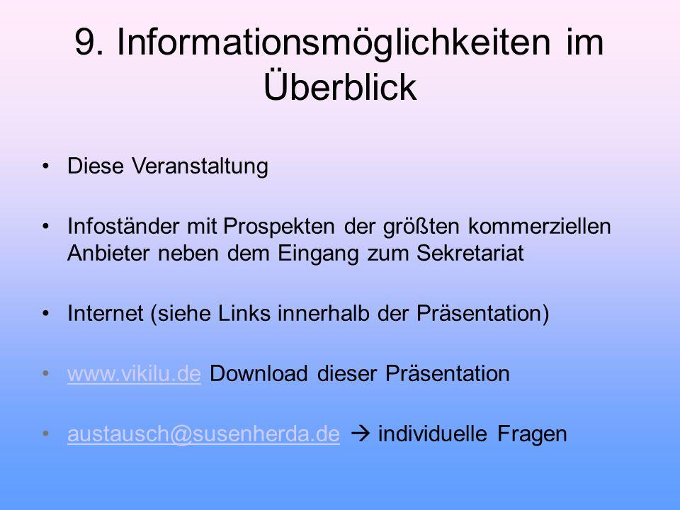 9. Informationsmöglichkeiten im Überblick