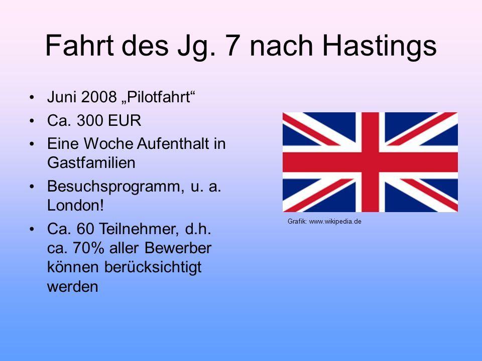 Fahrt des Jg. 7 nach Hastings