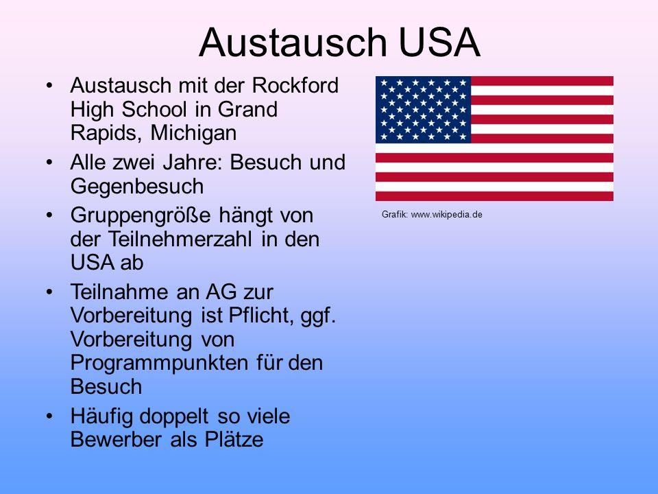 Austausch USA Austausch mit der Rockford High School in Grand Rapids, Michigan. Alle zwei Jahre: Besuch und Gegenbesuch.