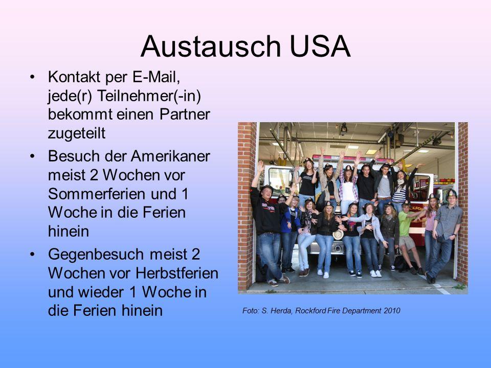 Austausch USA Kontakt per E-Mail, jede(r) Teilnehmer(-in) bekommt einen Partner zugeteilt.