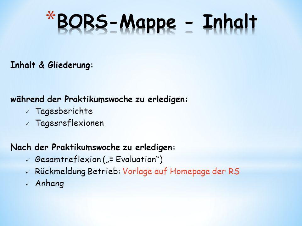 BORS-Mappe - Inhalt Inhalt & Gliederung: