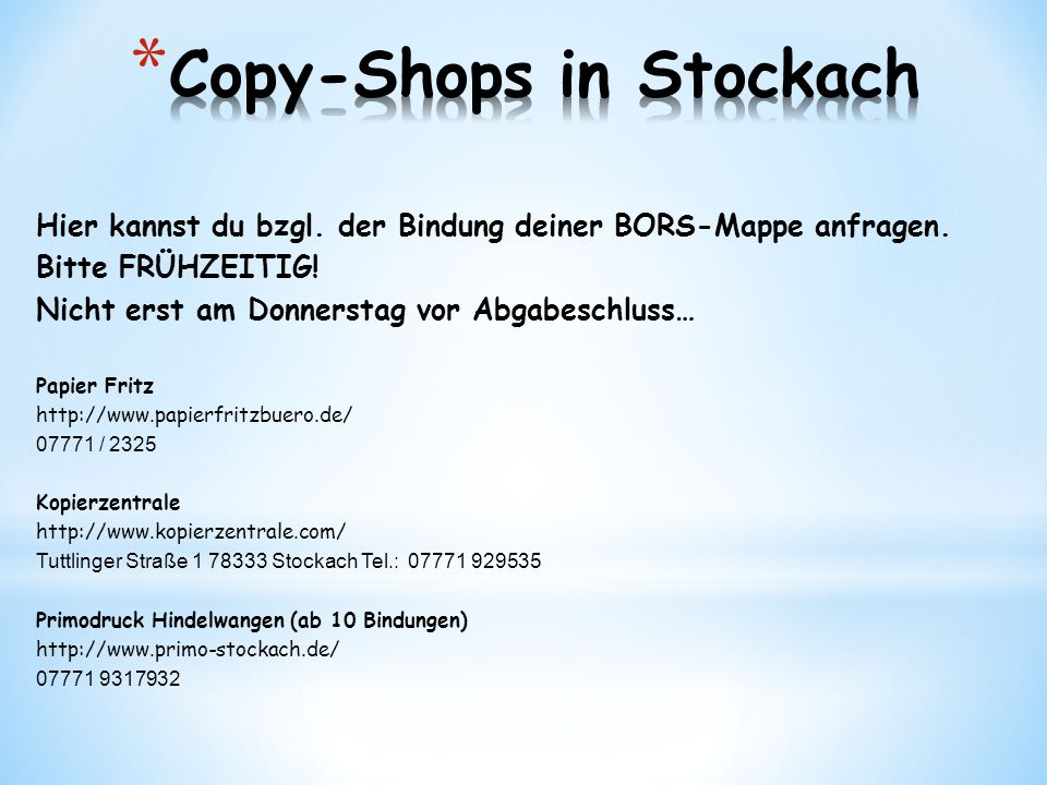 Copy-Shops in Stockach