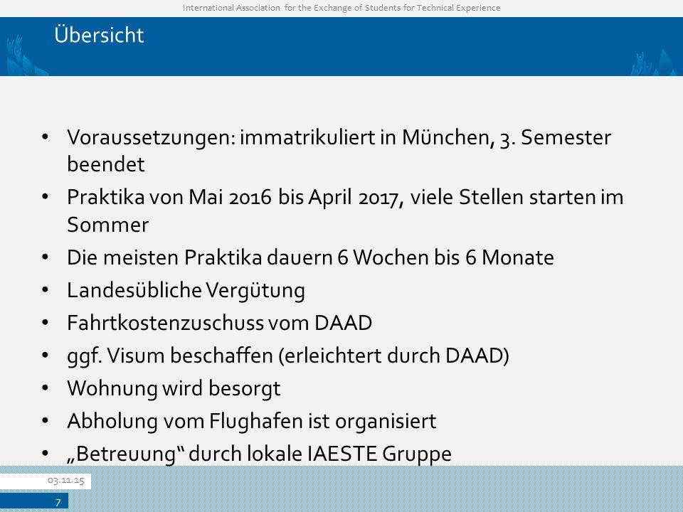Voraussetzungen: immatrikuliert in München, 3. Semester beendet