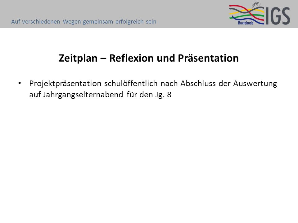 Zeitplan – Reflexion und Präsentation