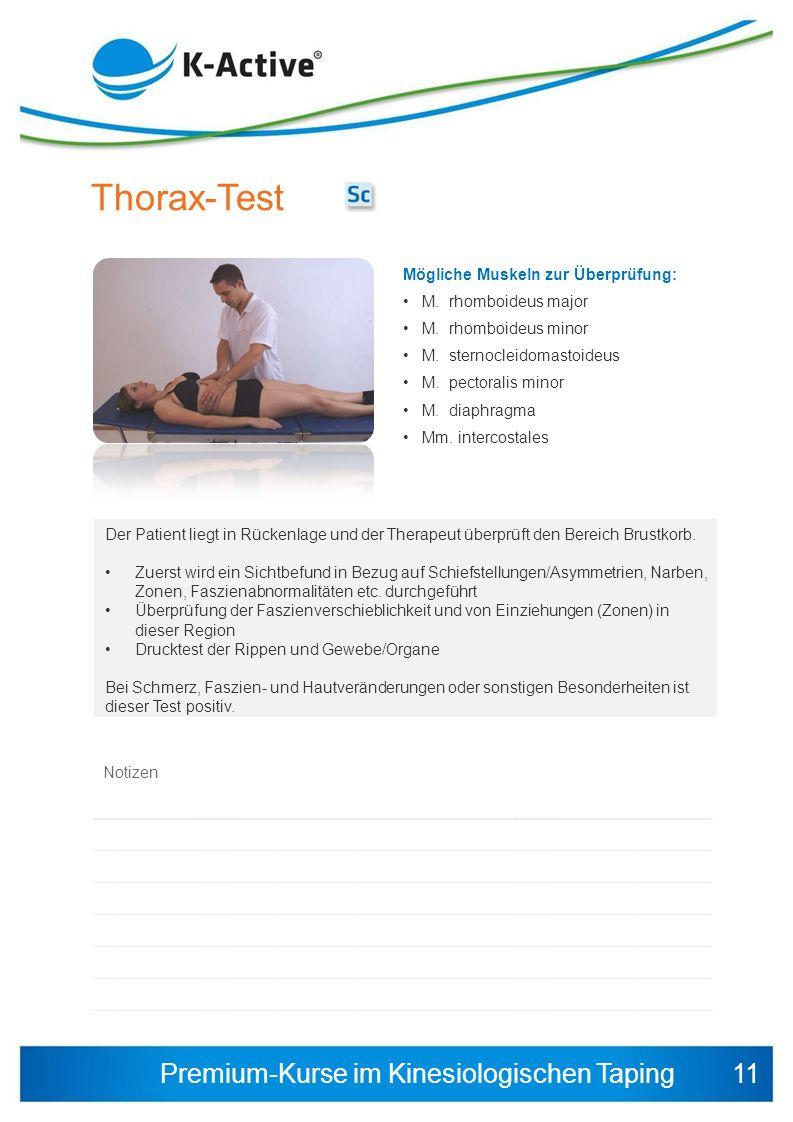 Thorax-Test 11 Mögliche Muskeln zur Überprüfung: M. rhomboideus major