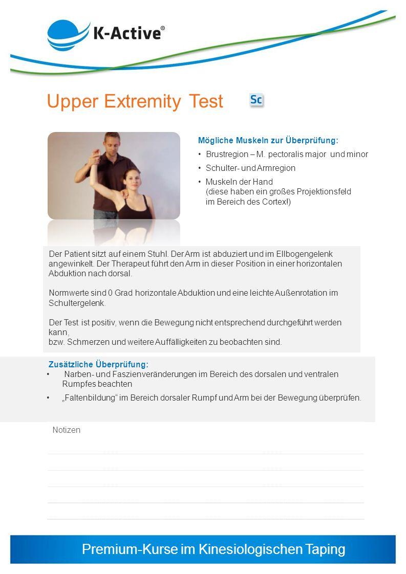 Upper Extremity Test Mögliche Muskeln zur Überprüfung: