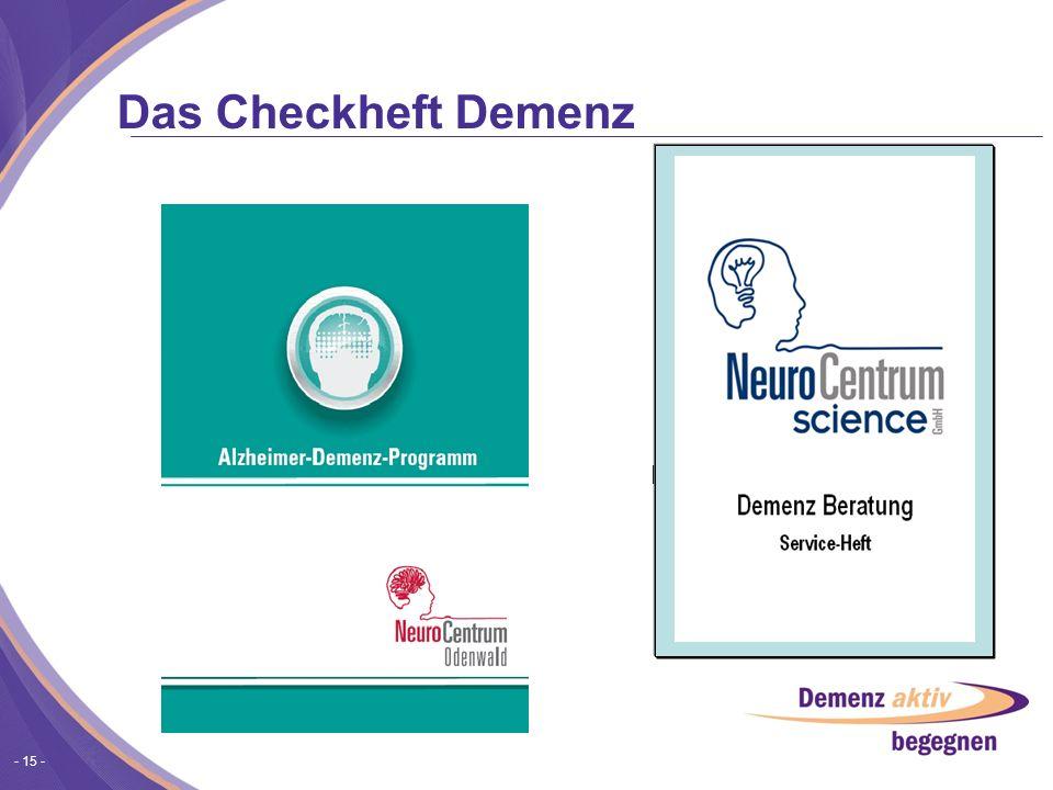 Das Checkheft Demenz Demenz Beratung