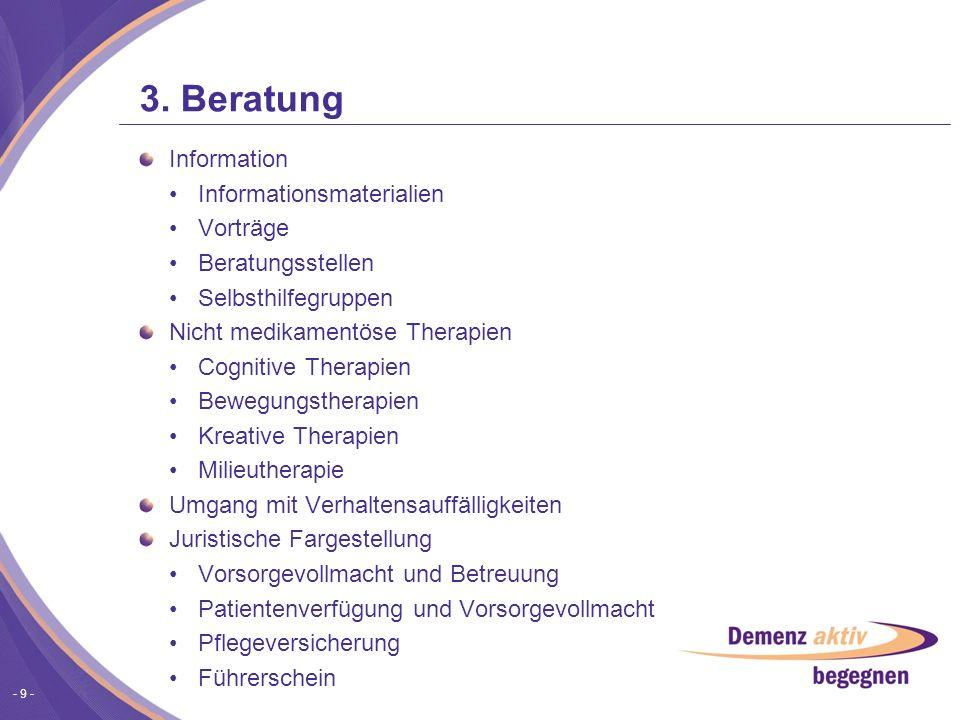 3. Beratung Information Informationsmaterialien Vorträge
