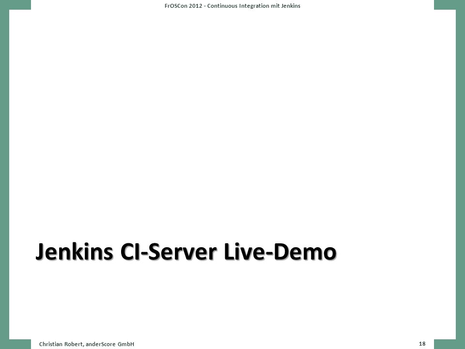 Jenkins CI-Server Live-Demo